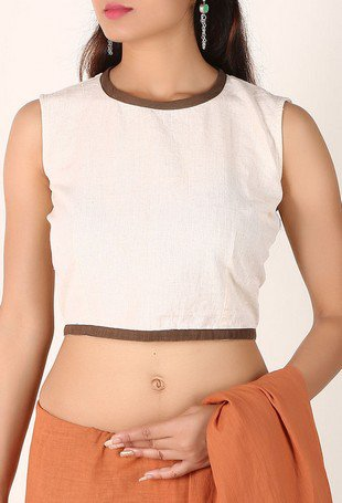 c115df8b8872f Off White Padded Cotton Blouse With Keyhole Back