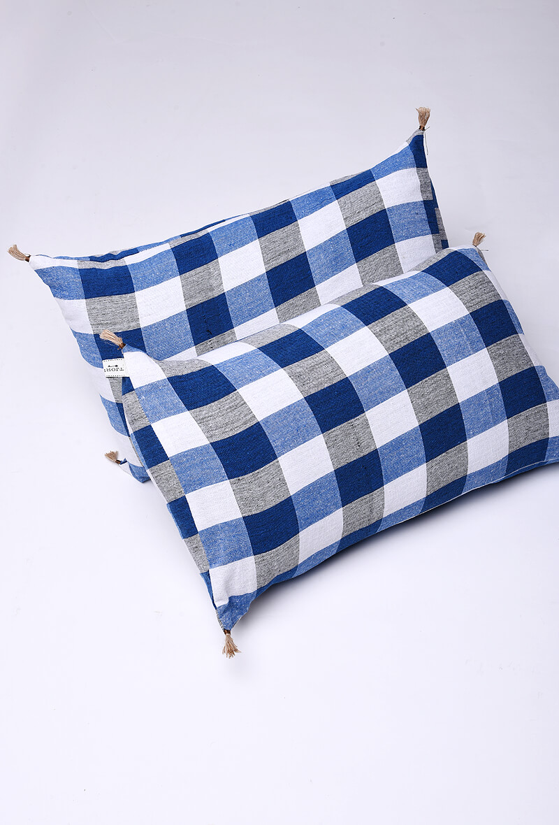 Blue Checked Handloom Cotton Pillow Covers - Set of 2
